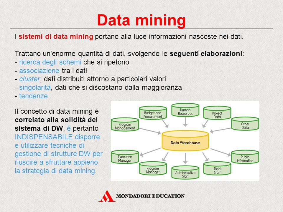 Data mining I sistemi di data mining portano alla luce informazioni nascoste nei dati. Trattano un'enorme quantità di dati, svolgendo le seguenti elab