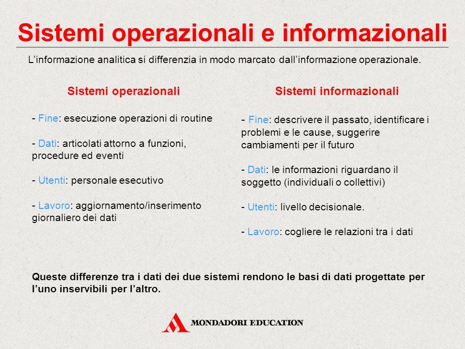 Sistemi operazionali e informazionali L'informazione analitica si differenzia in modo marcato dall'informazione operazionale. Sistemi operazionali - F