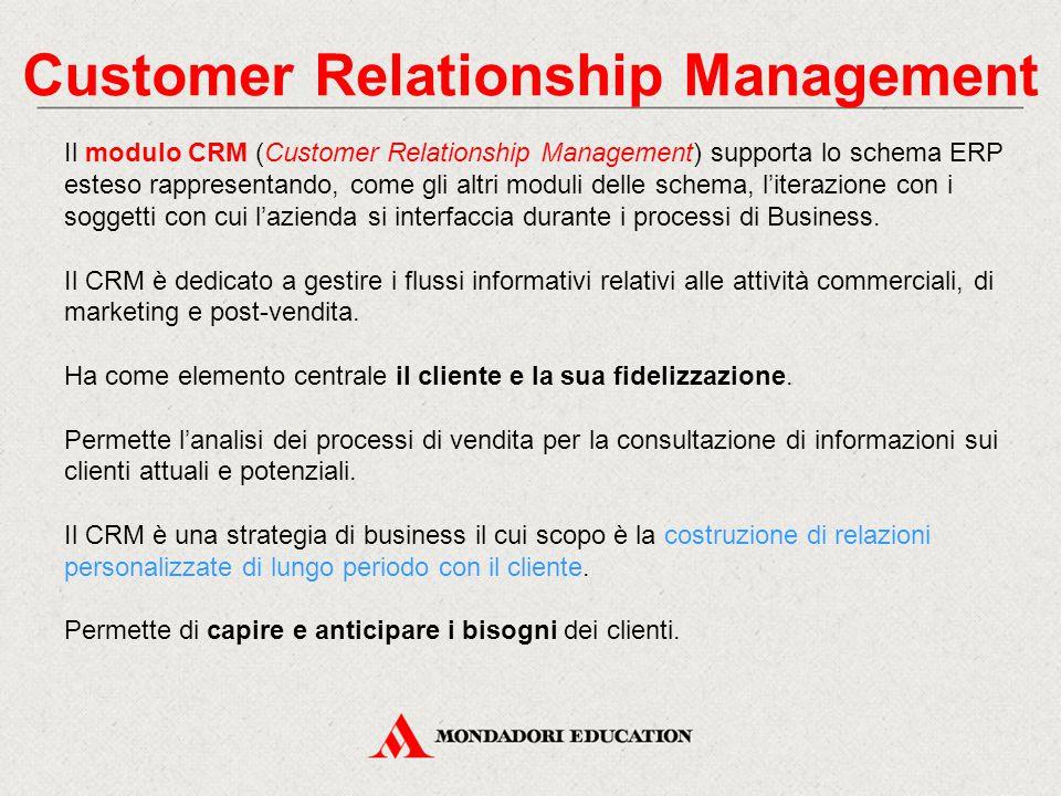 Customer Relationship Management Il modulo CRM (Customer Relationship Management) supporta lo schema ERP esteso rappresentando, come gli altri moduli delle schema, l'iterazione con i soggetti con cui l'azienda si interfaccia durante i processi di Business.