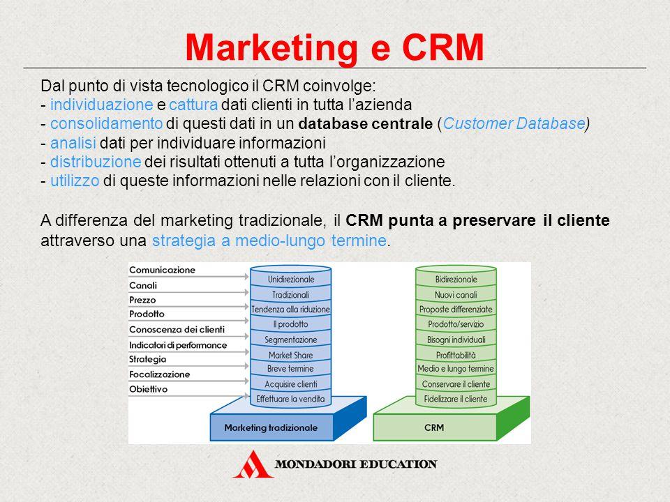 Marketing e CRM Dal punto di vista tecnologico il CRM coinvolge: - individuazione e cattura dati clienti in tutta l'azienda - consolidamento di questi