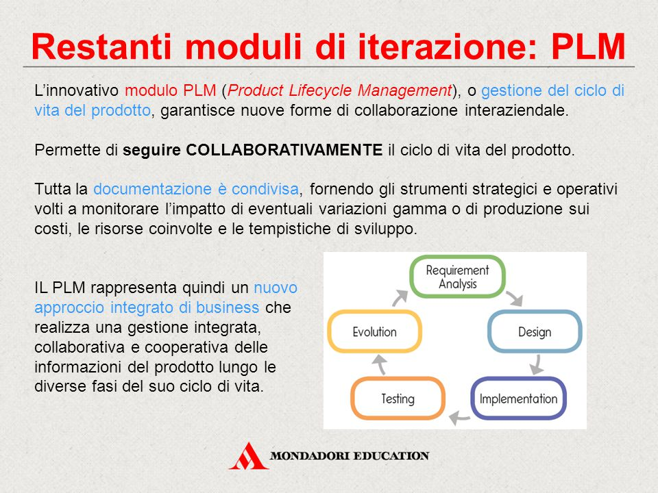 Restanti moduli di iterazione: PLM L'innovativo modulo PLM (Product Lifecycle Management), o gestione del ciclo di vita del prodotto, garantisce nuove forme di collaborazione interaziendale.