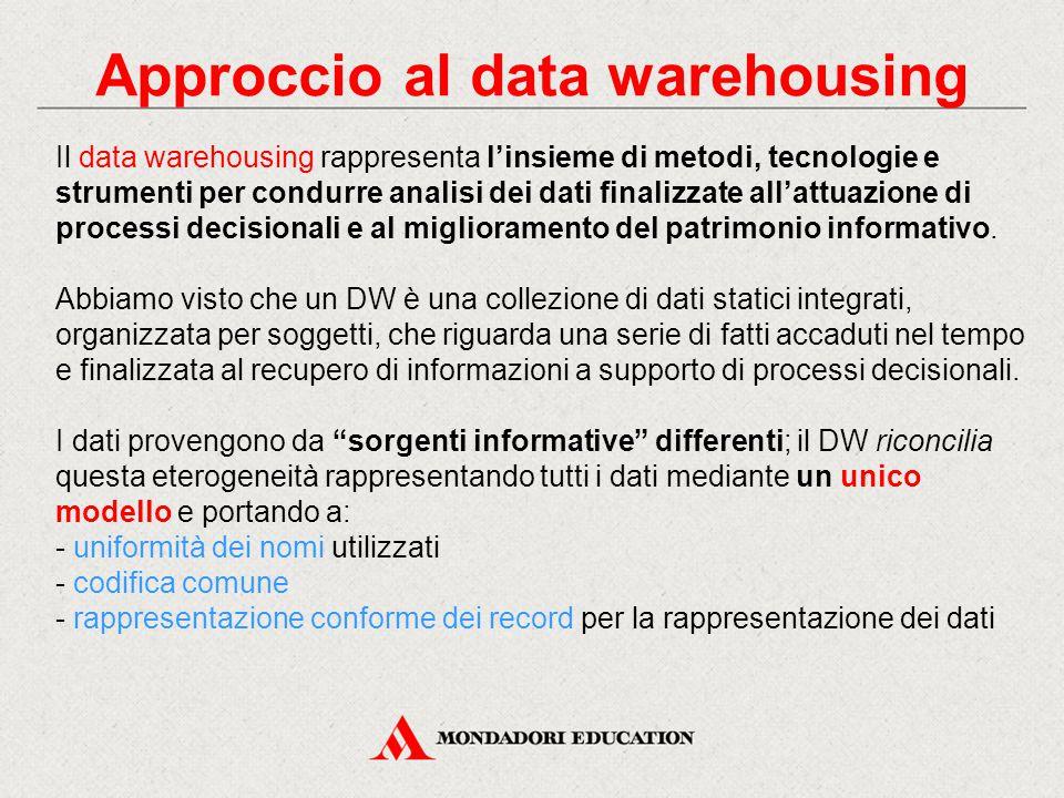 Approccio al data warehousing Il data warehousing rappresenta l'insieme di metodi, tecnologie e strumenti per condurre analisi dei dati finalizzate al