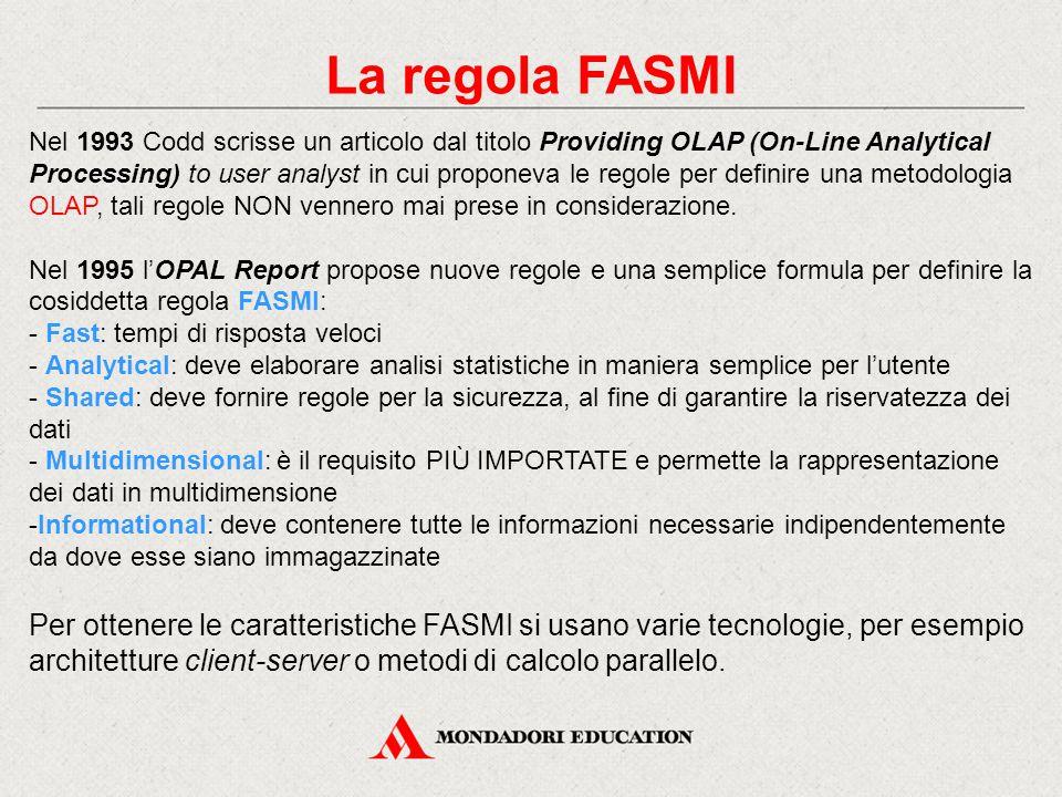 La regola FASMI Nel 1993 Codd scrisse un articolo dal titolo Providing OLAP (On-Line Analytical Processing) to user analyst in cui proponeva le regole per definire una metodologia OLAP, tali regole NON vennero mai prese in considerazione.