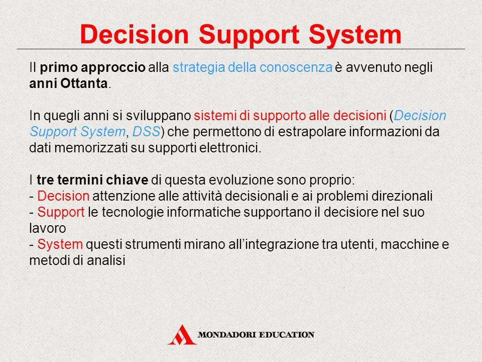 Decision Support System Il primo approccio alla strategia della conoscenza è avvenuto negli anni Ottanta. In quegli anni si sviluppano sistemi di supp