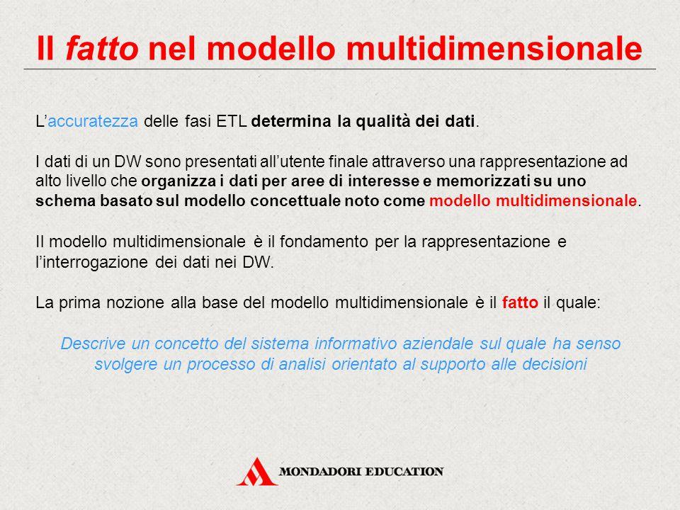 Il fatto nel modello multidimensionale L'accuratezza delle fasi ETL determina la qualità dei dati. I dati di un DW sono presentati all'utente finale a