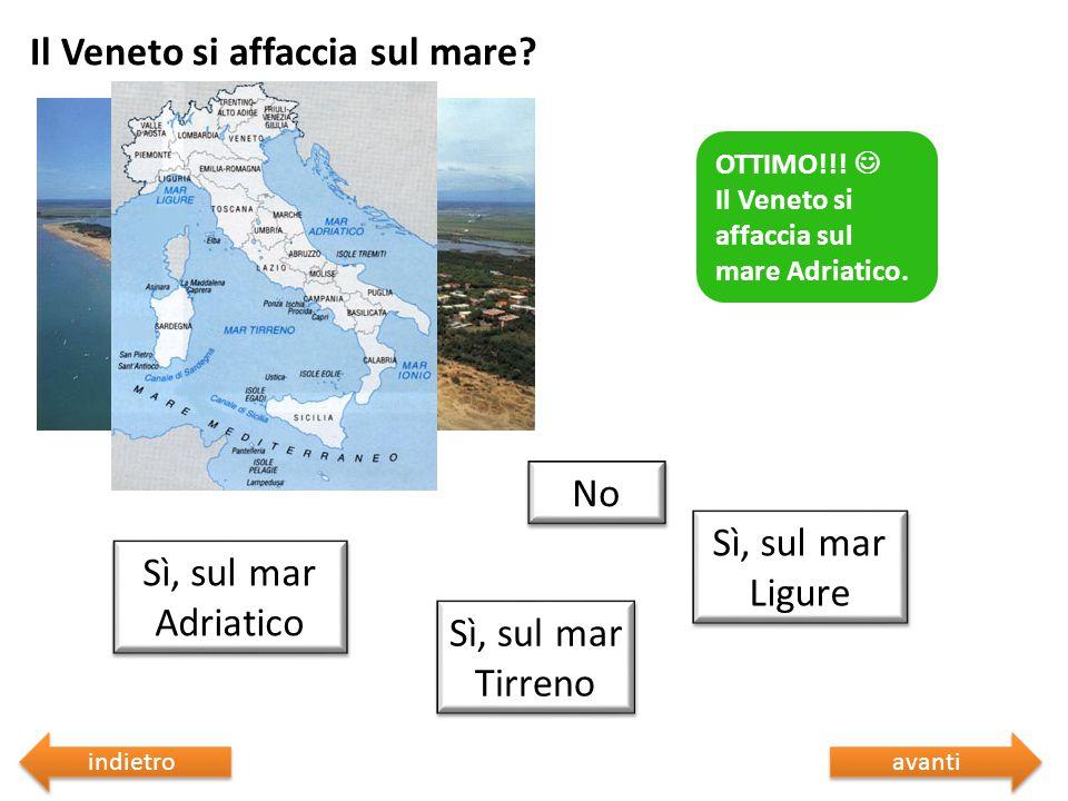 Il Veneto si affaccia sul mare? Sbagliato  Riprova Sì, sul mar Tirreno No Sì, sul mar Ligure Sì, sul mar Adriatico Sbagliato  Riprova OTTIMO!!! Il V