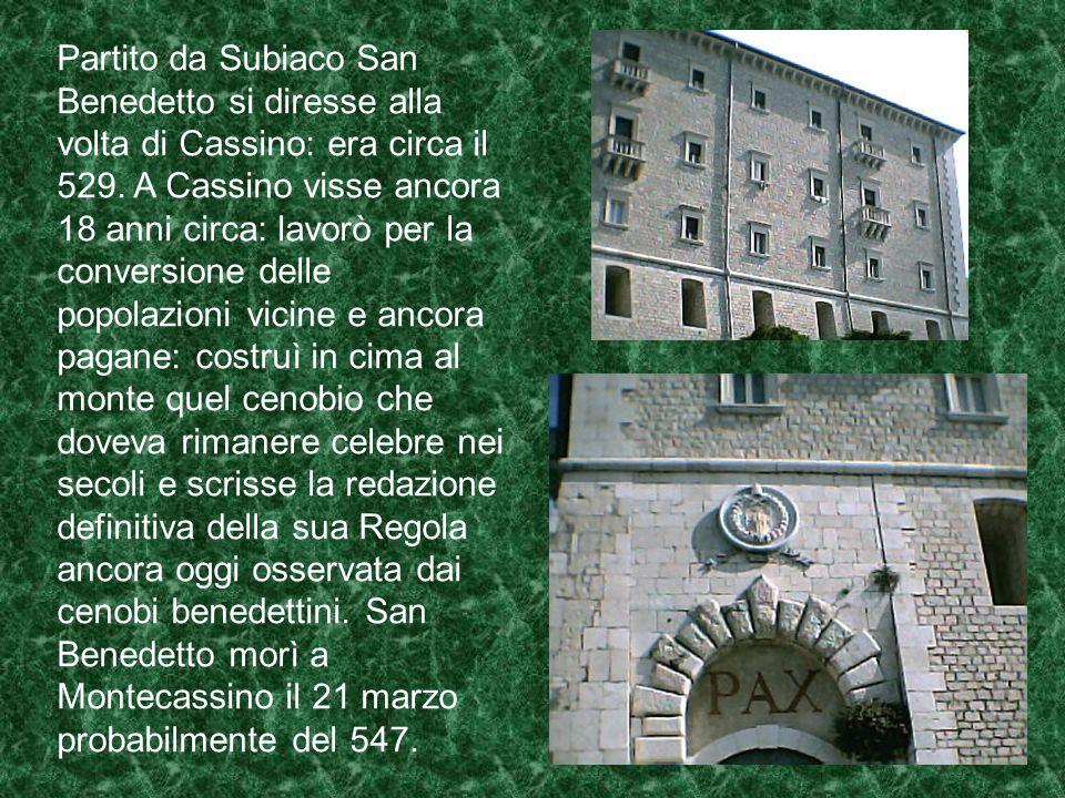 San Gregorio Magno racconta che l'invidia astiosa e priva di scrupoli del prete Fiorenzo l'obbligò ad emigrare. Fiorenzo disturbò con diverse azioni l