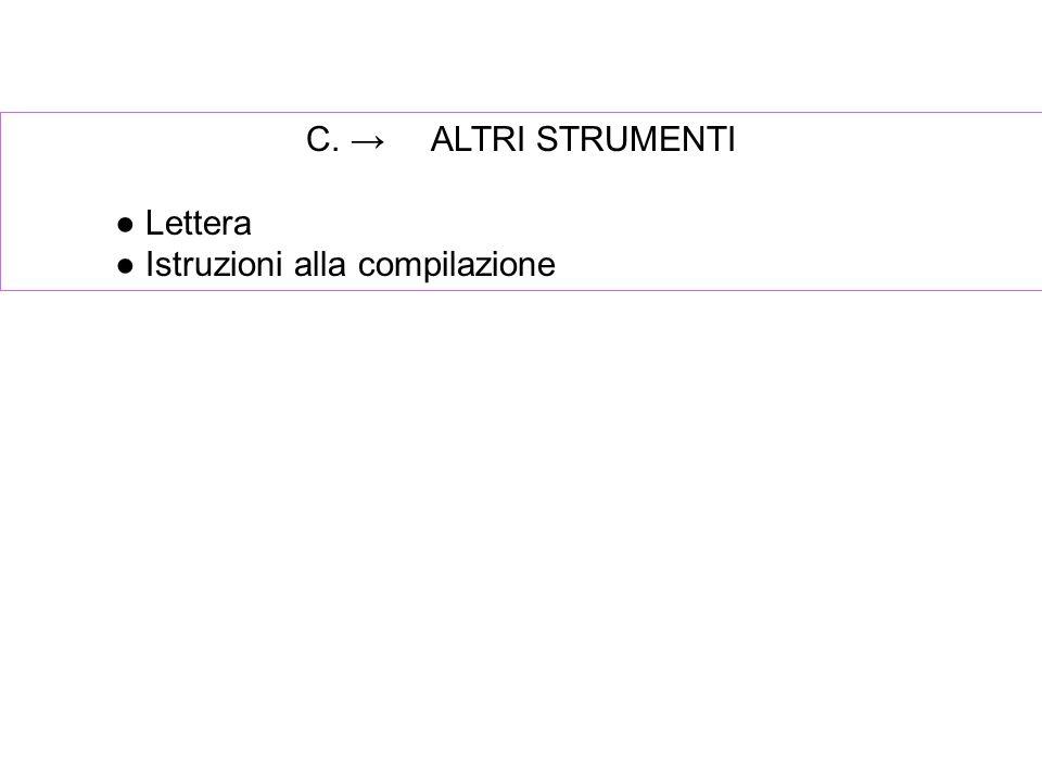 C. → ALTRI STRUMENTI ● Lettera ● Istruzioni alla compilazione