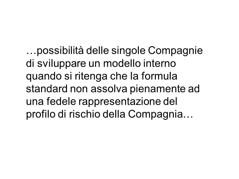 …possibilità delle singole Compagnie di sviluppare un modello interno quando si ritenga che la formula standard non assolva pienamente ad una fedele rappresentazione del profilo di rischio della Compagnia…
