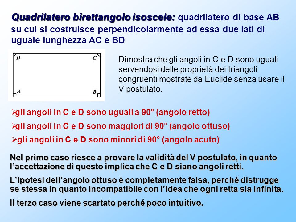  gli angoli in C e D sono uguali a 90° (angolo retto)  gli angoli in C e D sono maggiori di 90° (angolo ottuso)  gli angoli in C e D sono minori di