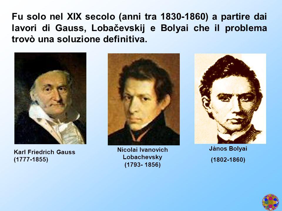 Fu solo nel XIX secolo (anni tra 1830-1860) a partire dai lavori di Gauss, Lobačevskij e Bolyai che il problema trovò una soluzione definitiva. Karl F