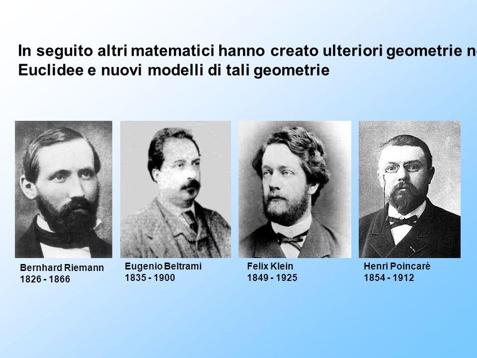 In seguito altri matematici hanno creato ulteriori geometrie non Euclidee e nuovi modelli di tali geometrie Bernhard Riemann 1826 - 1866 Felix Klein 1