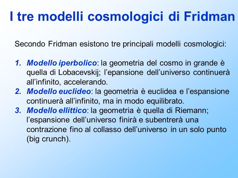 I tre modelli cosmologici di Fridman Secondo Fridman esistono tre principali modelli cosmologici: 1.Modello iperbolico: la geometria del cosmo in gran