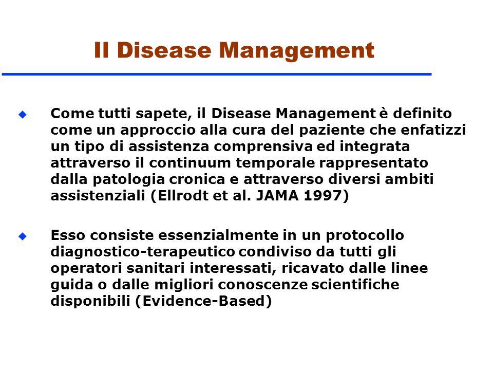 Il Disease Management u Come tutti sapete, il Disease Management è definito come un approccio alla cura del paziente che enfatizzi un tipo di assisten
