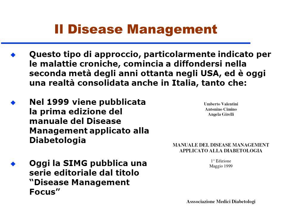Il Disease Management u Nel 1999 viene pubblicata la prima edizione del manuale del Disease Management applicato alla Diabetologia u Oggi la SIMG pubb
