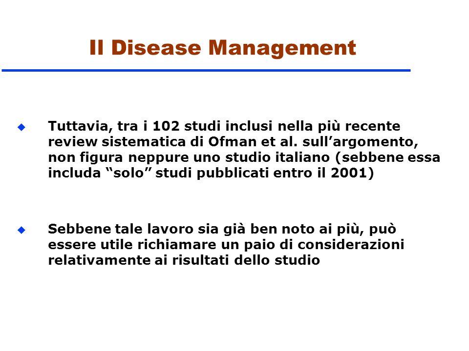 Il Disease Management u Tuttavia, tra i 102 studi inclusi nella più recente review sistematica di Ofman et al. sull'argomento, non figura neppure uno