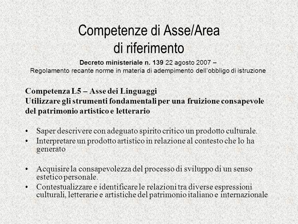 Competenze di Asse/Area di riferimento Competenza L5 – Asse dei Linguaggi Utilizzare gli strumenti fondamentali per una fruizione consapevole del patr