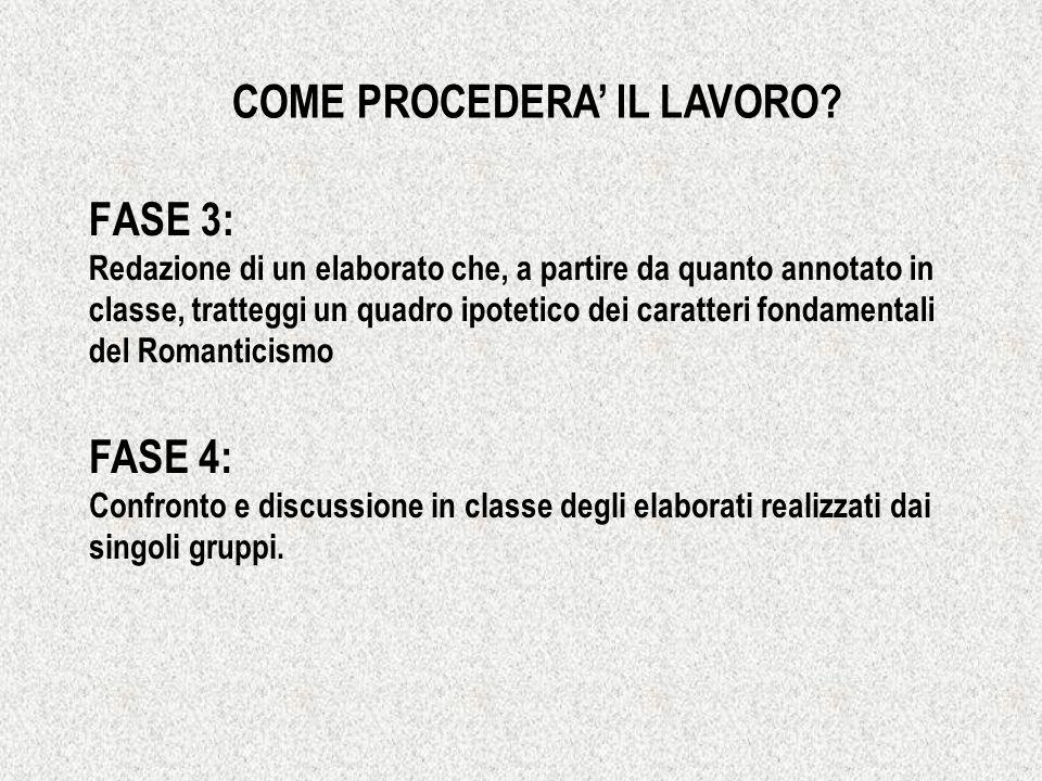 FASE 3: Redazione di un elaborato che, a partire da quanto annotato in classe, tratteggi un quadro ipotetico dei caratteri fondamentali del Romanticis
