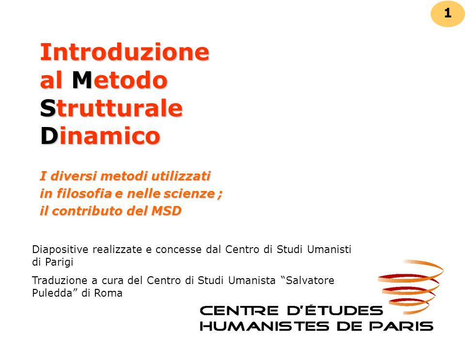 Introduzione al Metodo Strutturale Dinamico I diversi metodi utilizzati in filosofia e nelle scienze ; il contributo del MSD 1 Diapositive realizzate