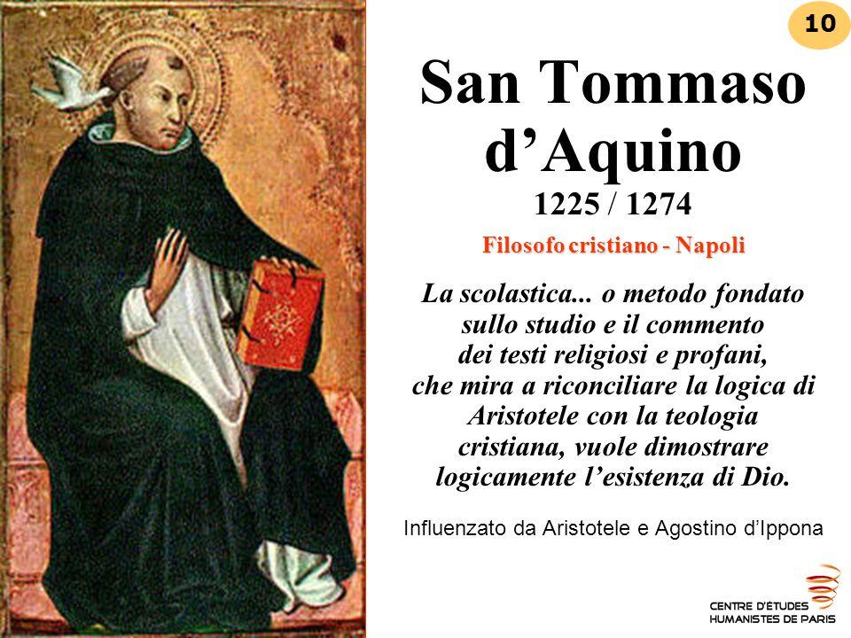 Filosofo cristiano - Napoli San Tommaso d'Aquino 1225 / 1274 Filosofo cristiano - Napoli La scolastica... o metodo fondato sullo studio e il commento