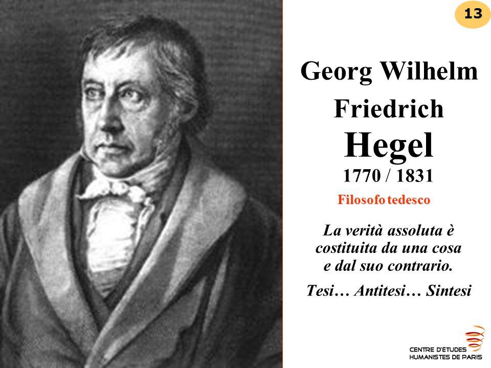 Filosofo tedesco Georg Wilhelm Friedrich Hegel 1770 / 1831 Filosofo tedesco La verità assoluta è costituita da una cosa e dal suo contrario. Tesi… Ant