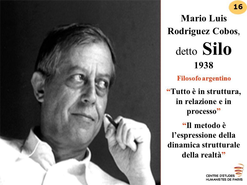 """Filosofo argentino Mario Luis Rodriguez Cobos, detto Silo 1938 Filosofo argentino """"Tutto è in struttura, in relazione e in processo"""" """"Il metodo è l'es"""