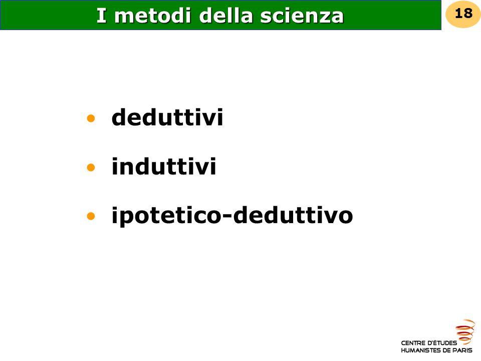 I metodi della scienza deduttivi induttivi i potetico-deduttivo 18