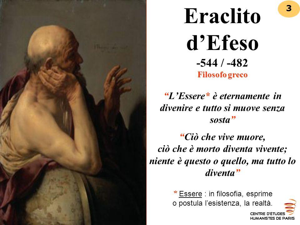 """Filosofo greco Eraclito d'Efeso -544 / -482 Filosofo greco """"L'Essere* è eternamente in divenire e tutto si muove senza sosta"""" """"Ciò che vive muore, ciò"""