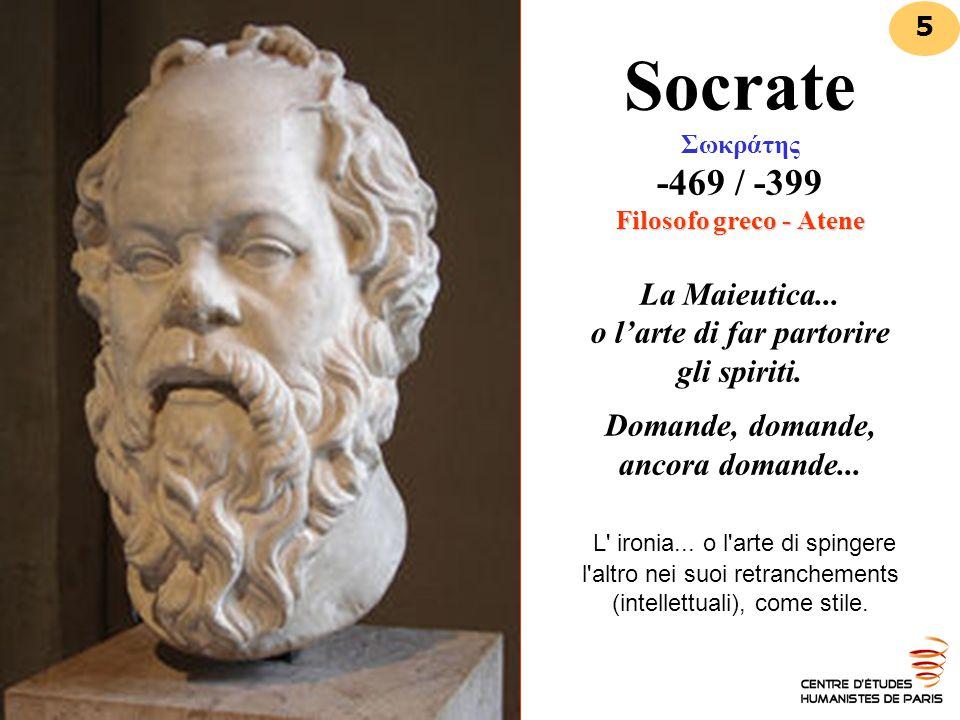 Filosofo greco - Atene Socrate Σωκράτης -469 / -399 Filosofo greco - Atene La Maieutica... o l'arte di far partorire gli spiriti. Domande, domande, an
