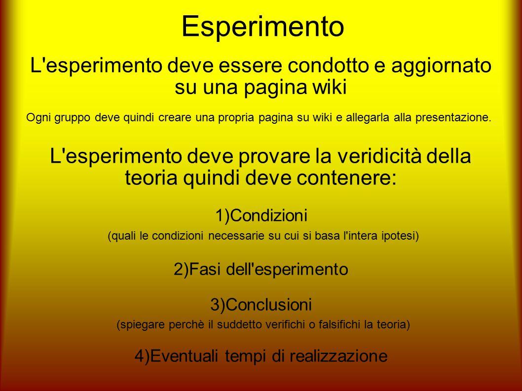 Esperimento L'esperimento deve essere condotto e aggiornato su una pagina wiki Ogni gruppo deve quindi creare una propria pagina su wiki e allegarla a