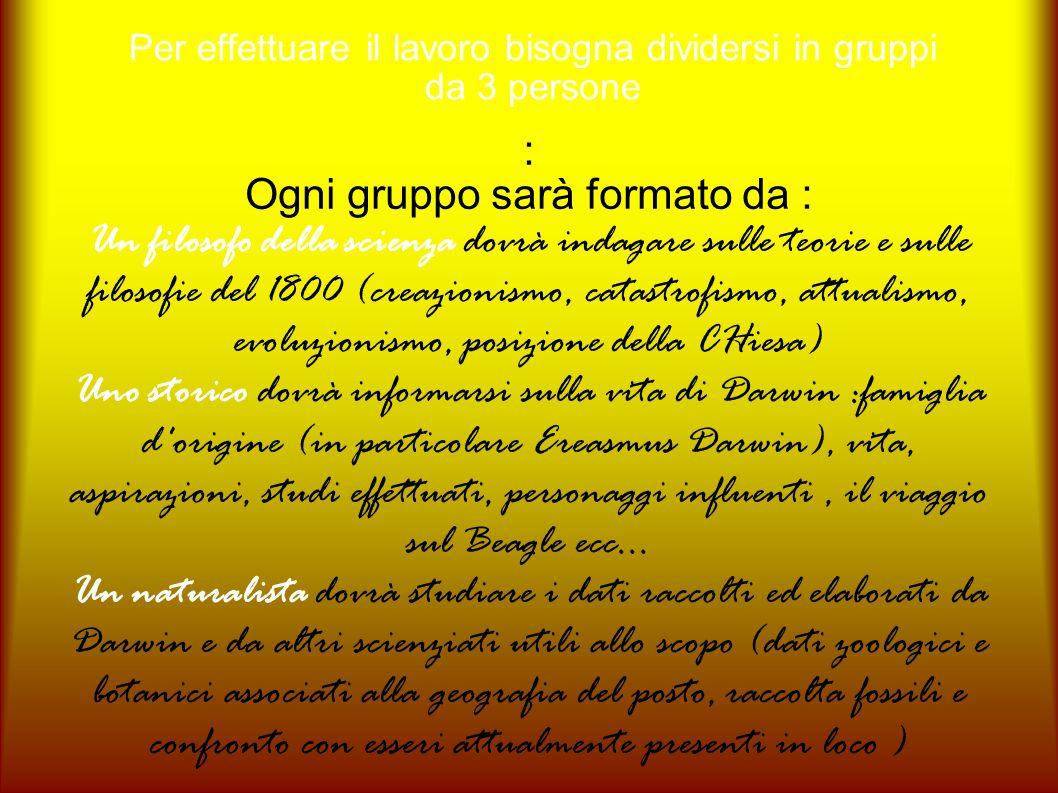 Per effettuare il lavoro bisogna dividersi in gruppi da 3 persone : Ogni gruppo sarà formato da : Un filosofo della scienza dovrà indagare sulle teori