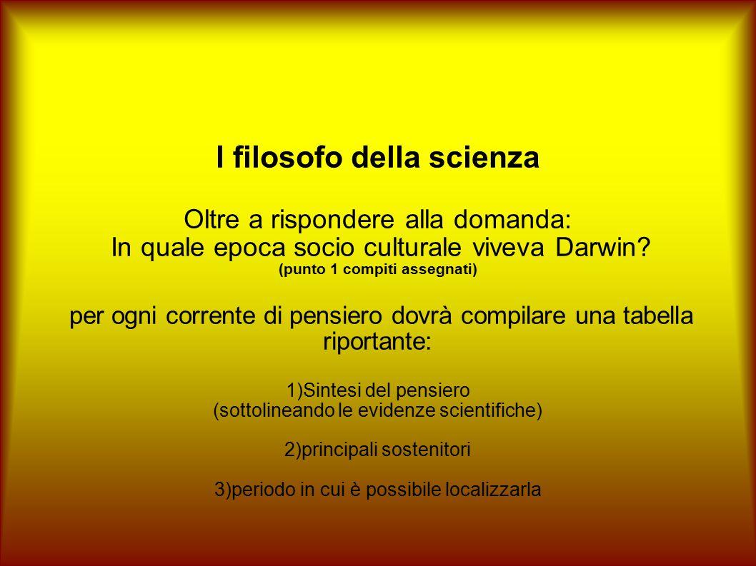 l filosofo della scienza Oltre a rispondere alla domanda: In quale epoca socio culturale viveva Darwin? (punto 1 compiti assegnati) per ogni corrente