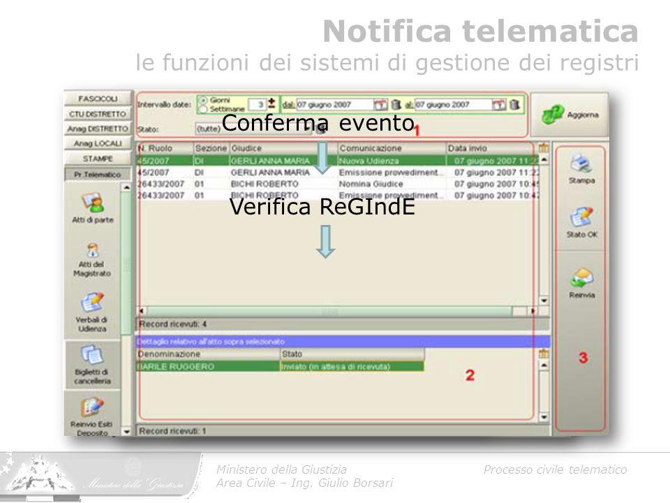 Notifica telematica le funzioni dei sistemi di gestione dei registri Ministero della Giustizia Processo civile telematico Area Civile – Ing. Giulio Bo