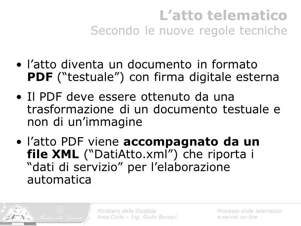 """l'atto diventa un documento in formato PDF (""""testuale"""") con firma digitale esterna Il PDF deve essere ottenuto da una trasformazione di un documento t"""