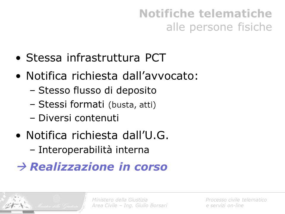 Stessa infrastruttura PCT Notifica richiesta dall'avvocato: –Stesso flusso di deposito –Stessi formati (busta, atti) –Diversi contenuti Notifica richi