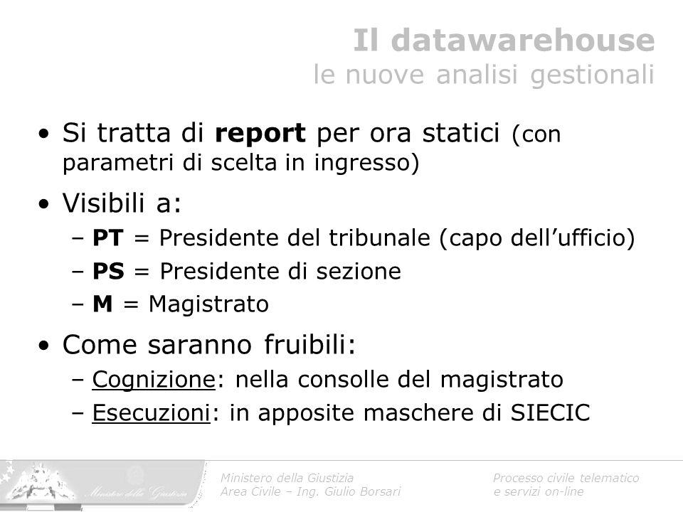 Il datawarehouse le nuove analisi gestionali Ministero della Giustizia Processo civile telematico Area Civile – Ing. Giulio Borsari e servizi on-line
