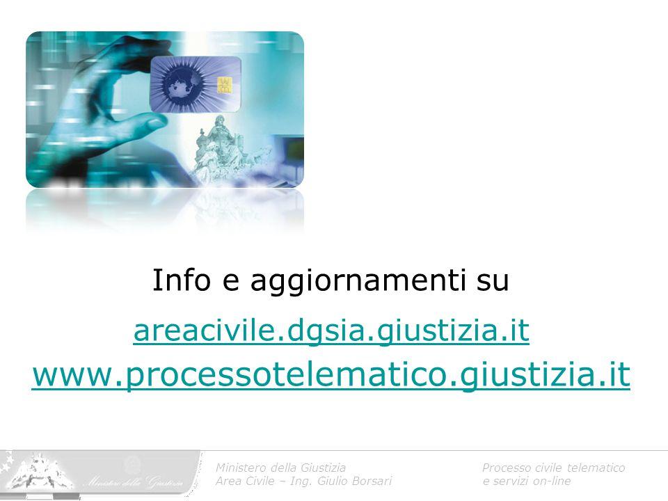 Ministero della Giustizia Processo civile telematico Area Civile – Ing. Giulio Borsari e servizi on-line Info e aggiornamenti su areacivile.dgsia.gius