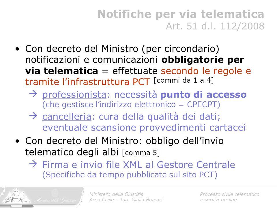 Con decreto del Ministro (per circondario) notificazioni e comunicazioni obbligatorie per via telematica = effettuate secondo le regole e tramite l'in