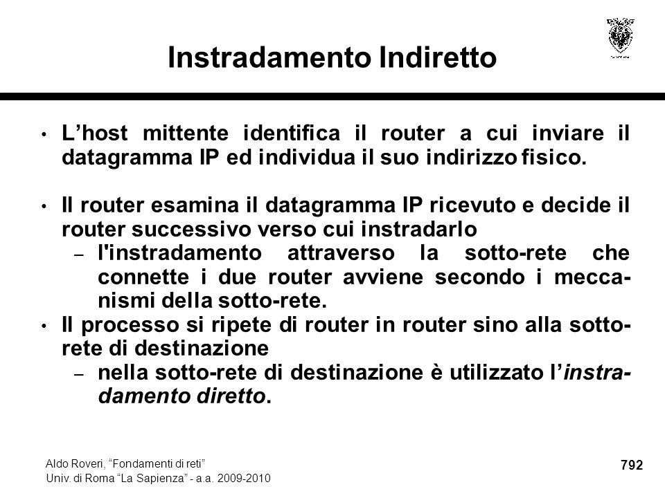792 Aldo Roveri, Fondamenti di reti Univ. di Roma La Sapienza - a.a.