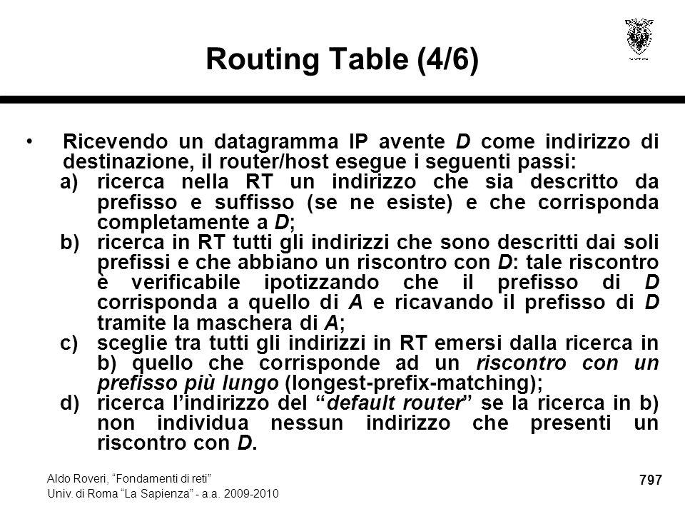 797 Aldo Roveri, Fondamenti di reti Univ. di Roma La Sapienza - a.a.