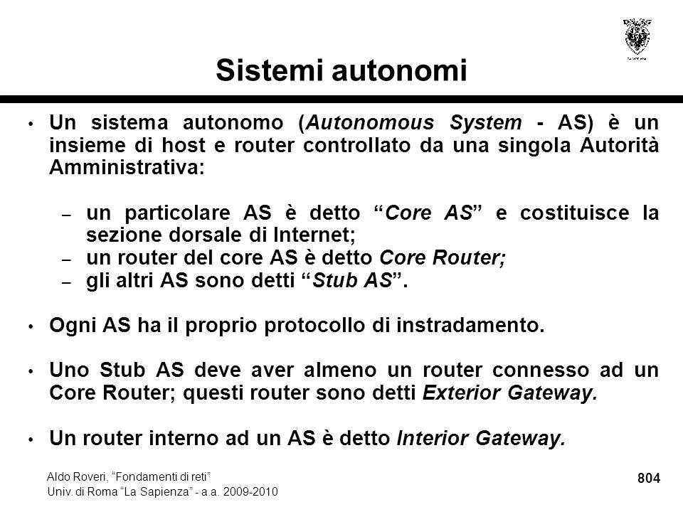 804 Aldo Roveri, Fondamenti di reti Univ. di Roma La Sapienza - a.a.