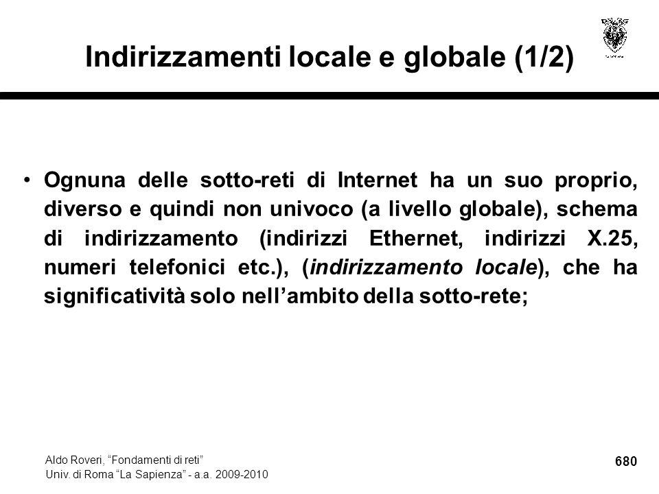 680 Aldo Roveri, Fondamenti di reti Univ. di Roma La Sapienza - a.a.
