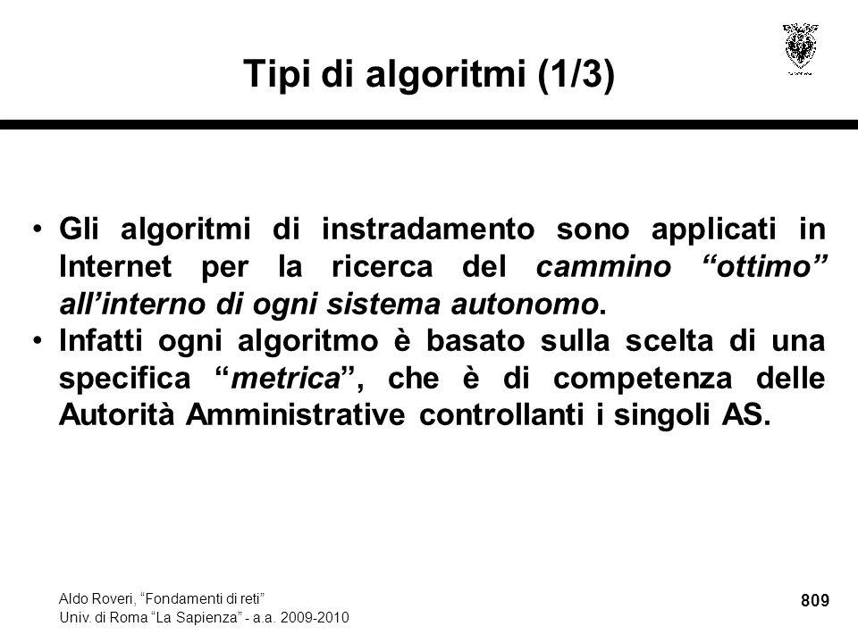 809 Aldo Roveri, Fondamenti di reti Univ. di Roma La Sapienza - a.a.