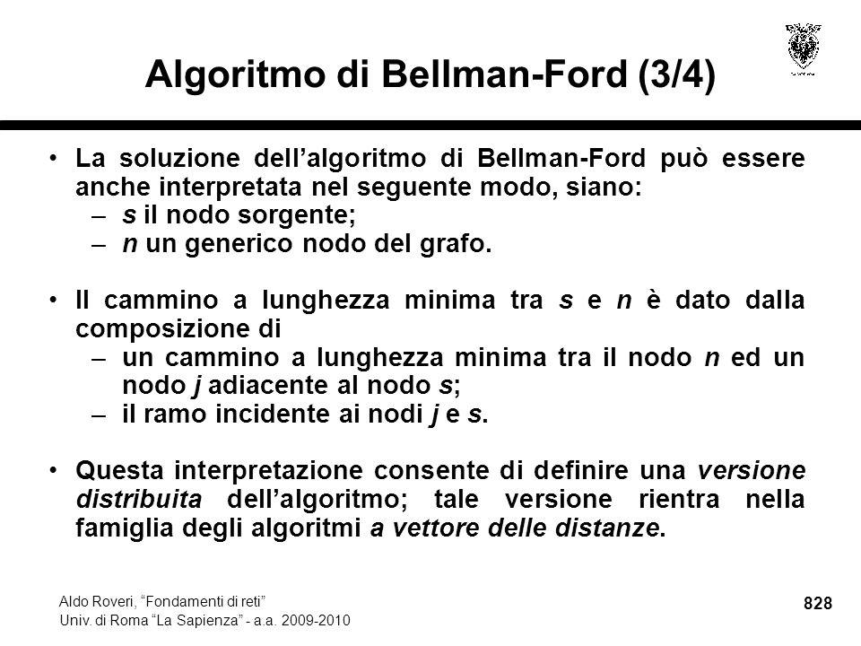 828 Aldo Roveri, Fondamenti di reti Univ. di Roma La Sapienza - a.a.