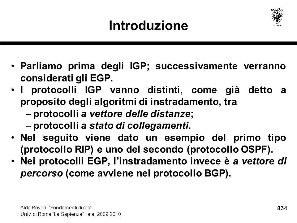834 Aldo Roveri, Fondamenti di reti Univ. di Roma La Sapienza - a.a.