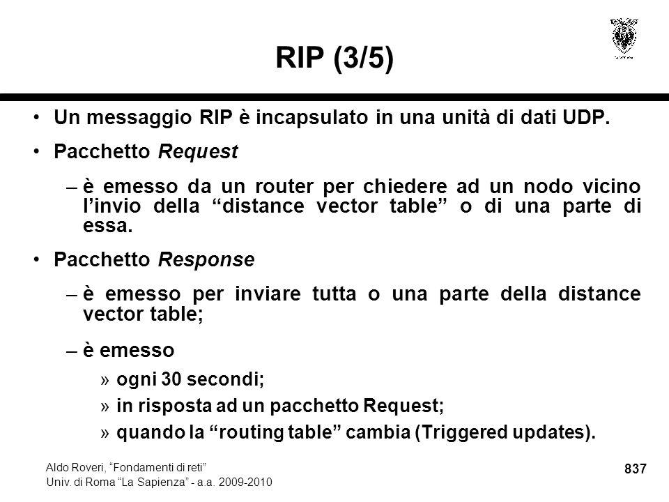 837 Aldo Roveri, Fondamenti di reti Univ. di Roma La Sapienza - a.a.
