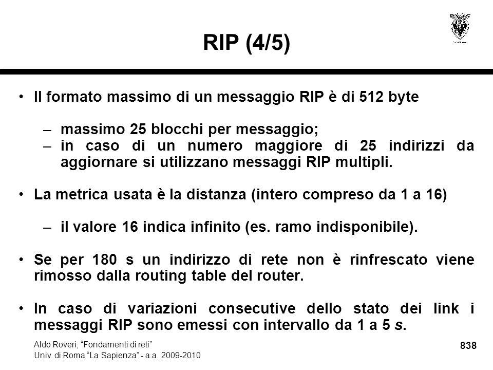 838 Aldo Roveri, Fondamenti di reti Univ. di Roma La Sapienza - a.a.
