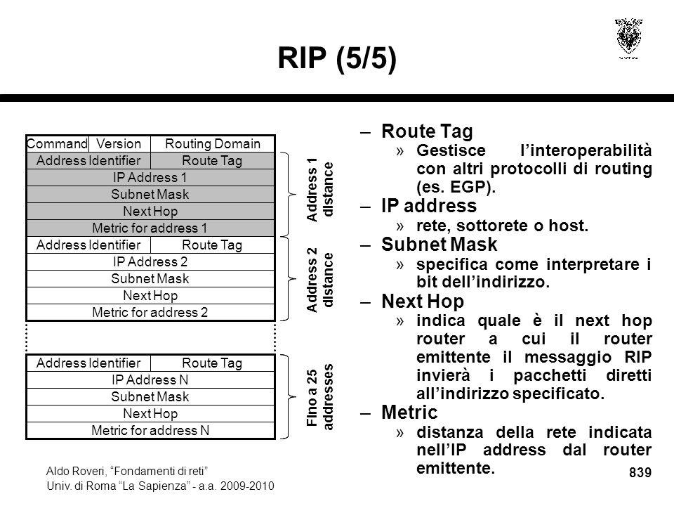 839 Aldo Roveri, Fondamenti di reti Univ. di Roma La Sapienza - a.a.
