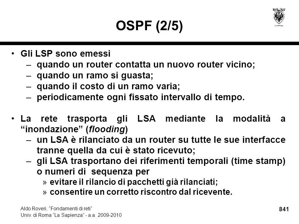 841 Aldo Roveri, Fondamenti di reti Univ. di Roma La Sapienza - a.a.