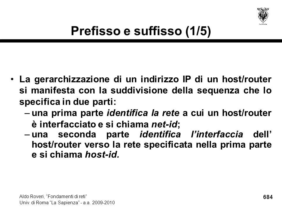 684 Aldo Roveri, Fondamenti di reti Univ. di Roma La Sapienza - a.a.